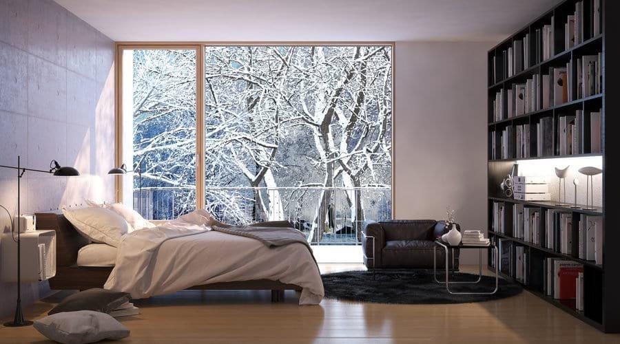 Łóżko w nowoczesnej sypialni