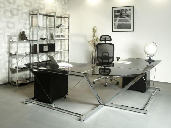 Duże narożne biurko prezesa z czarną szybą Z-line