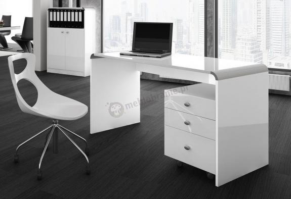 Biurko dla prezesa białe z kontenerkiem - Murano 130