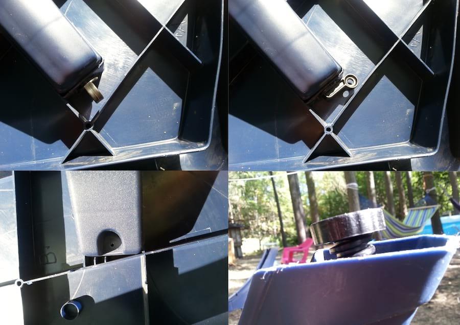 Na zdjęciach widać sposób montowania nóg stołu z blatem, otwór do zmontowania stołu na stałe i regulującą wysokość stopkę.