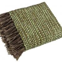 Pled zielony z brązowymi frędzlami