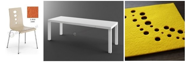 Stół biały wysoki połysk aranżacja z dodatkami w ciepłych kolorach.