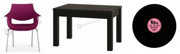 Stół wysoki połysk czarny - aranżacja z fioletami.