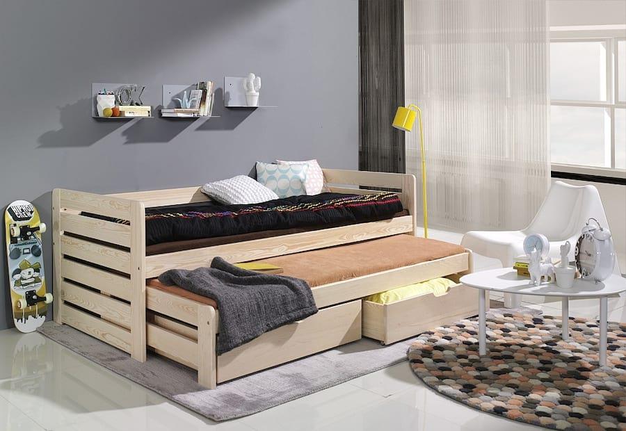 Łóżko parterowe Tomasz z naturalnej sosny