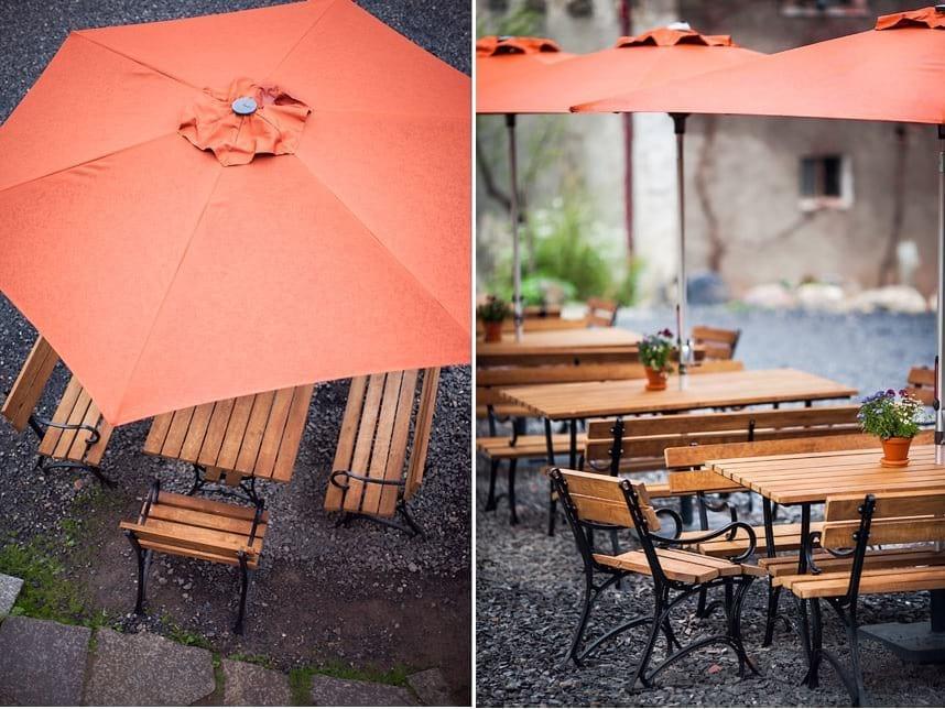Komplety żeliwne Ludwik osłonięte parasolami Alu Pro 305