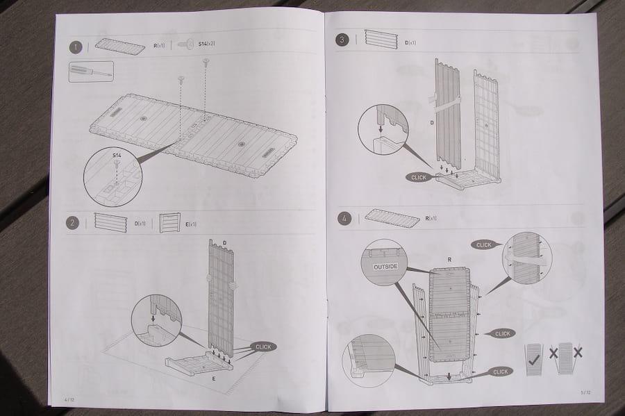 Montaż skrzyni Keter Brushwood Storage Box 455L instrukcja1