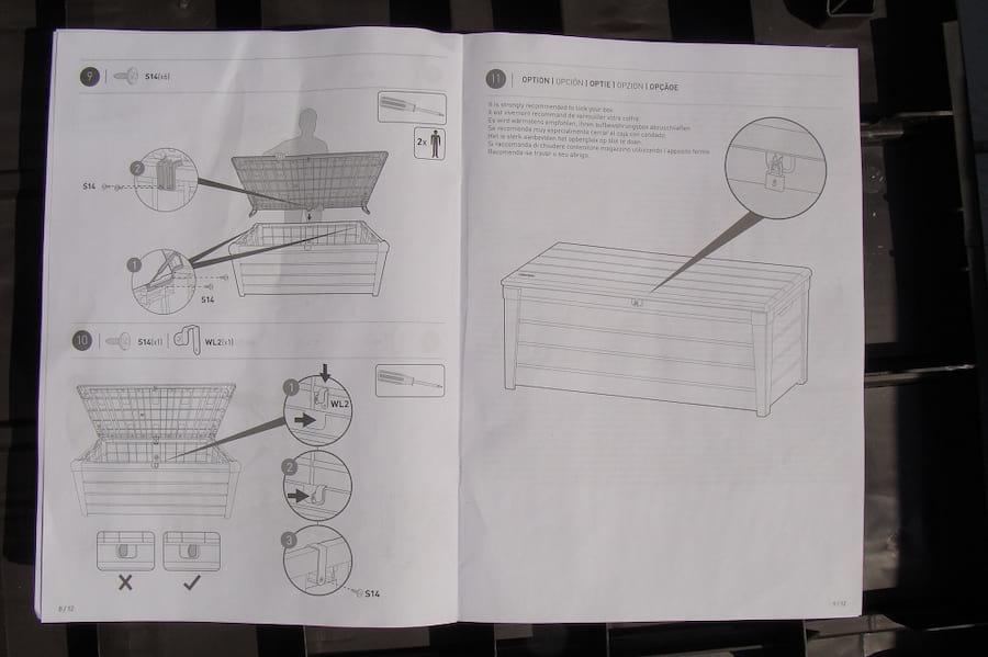 Montaż skrzyni Keter Brushwood Storage Box 455L instrukcja3