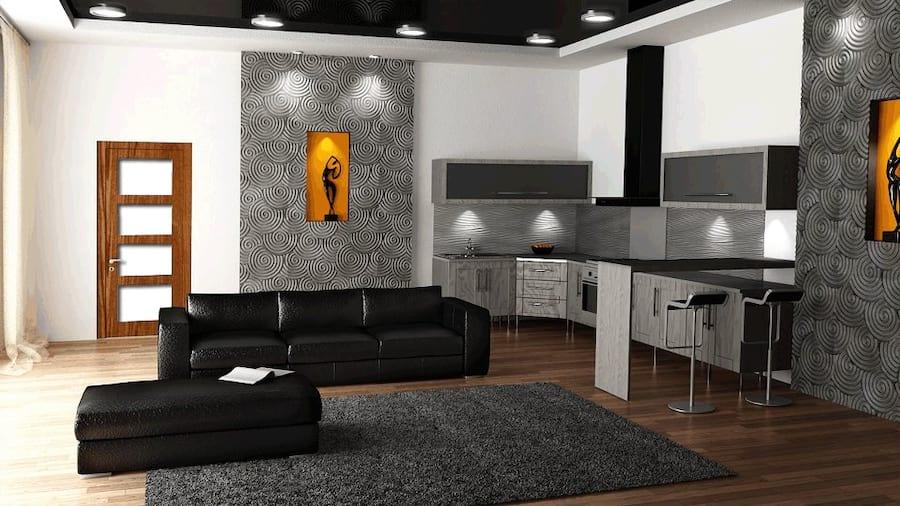 Salon wykończony płytami dekoracyjnymi MDF