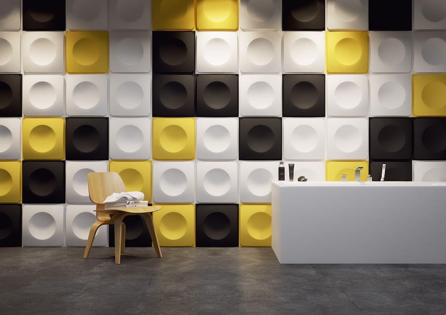 Pokój wykończony panelami 3d squares
