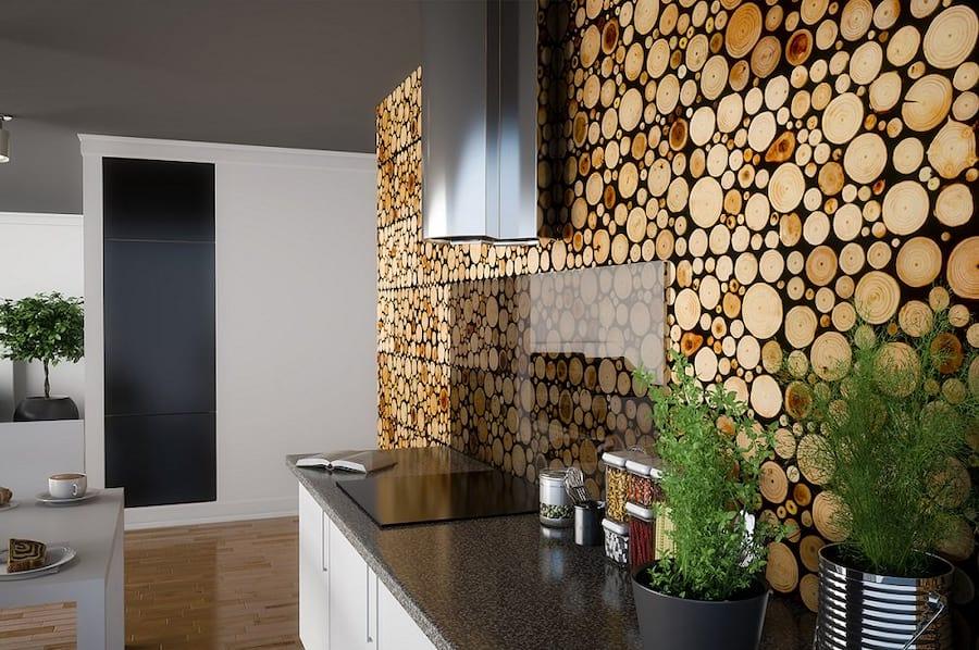 Ściana wyłożona drewnianymi panelami pure marki Stegu