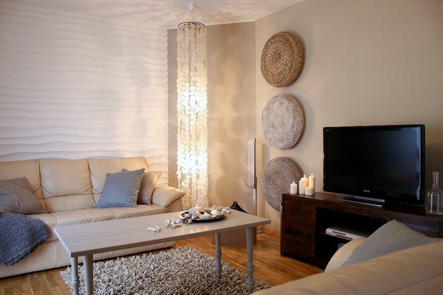 Pokój ze ścianą wykończoną elementem dekoracyjnym choppy marki dunes