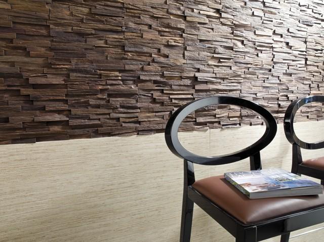 Ściana zrobiona drewnianymi cegiełkami marki Natural Woods Panels