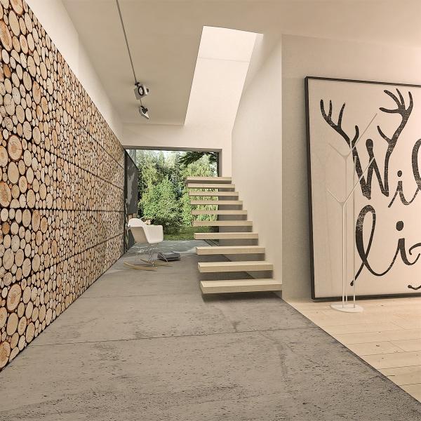 Wnętrze wykończone drewnianymi panelami stegu