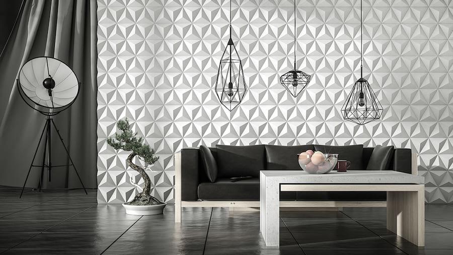 wnętrze wykończone betonowymi panelami 3D