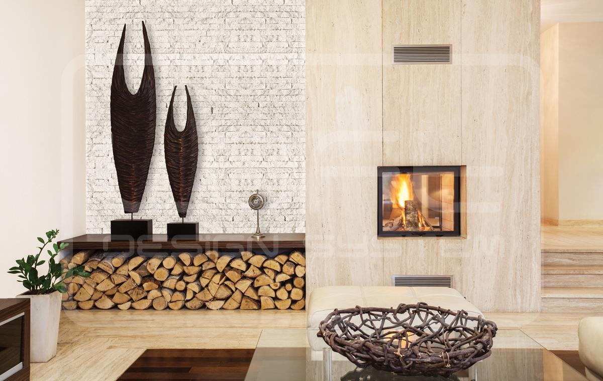 Mieszkanie z częścią ściany wykończoną dekoracyjnym kamieniem