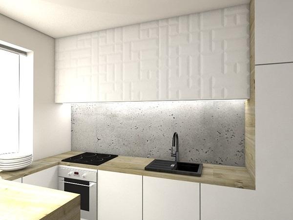 Płyty 3d na ścianę ozdobne wykorzystane do aranżacji kuchni.