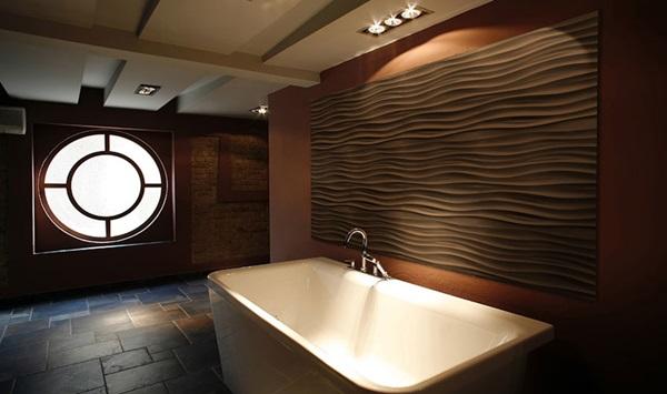 Ściany dekoracyjne z paneli gipsowych 3D wykorzystane w aranżacji łazienki.