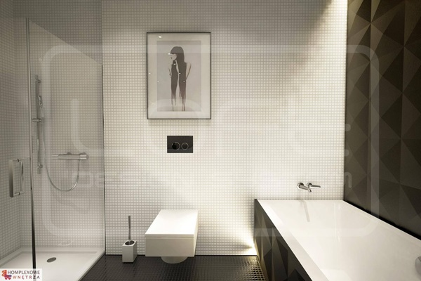 Płyty gipsowe ozdobne 3D wykorzystane w aranżacji łazienki.