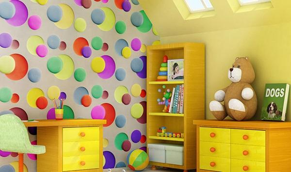 Panele dekoracyjne na ścianę 3D wykorzystane do aranżacji pokoju dziecięcego.