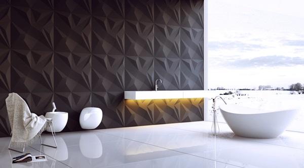 Ozdobne płyty na ściany 3D wykorzystane do aranżacji łazienki.