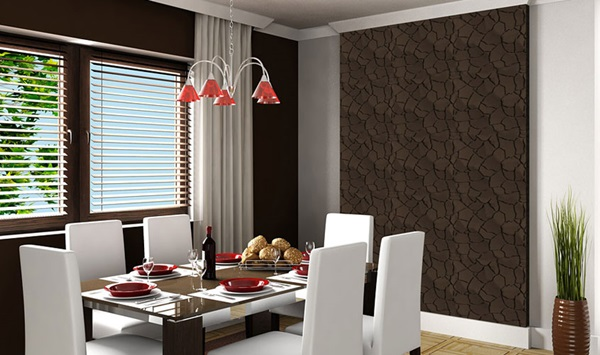 Panele na ścianę 3d ozdobne wykorzystane do zaaranżowania ściany jadalni.