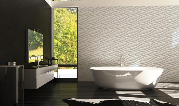 Ściana dekoracyjna w łazience wykonana z paneli gipsowych 3D.