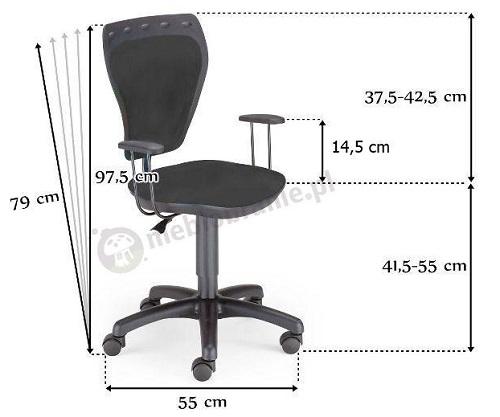 Krzesło obrotowe dla dzieci Cartoons Line - wymiary