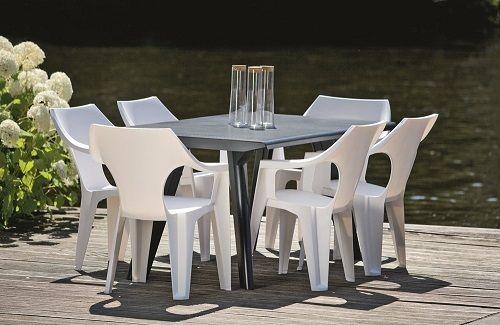 Zestaw mebli stołowych z tworzywa sztucznego krzesła Dante Low Back i stół Dante
