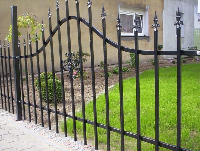 Za bramą widać zielony trawnik i drobne krzewy.