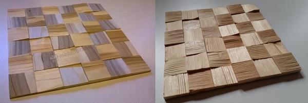 panele drewniane - po lewej kostka czereśniowa, a po prawej kostka sosny