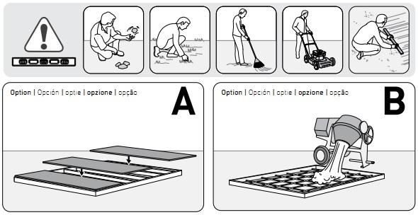 Ilustracja z instrukcji montażu domku - przygotowanie podłoża