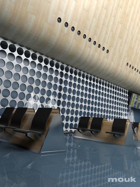 Panele ażurowe mouk wykorzystane jako ścianka działowa na lotnisku.