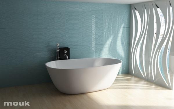 Dekoracja ścienna z paneli ażurowych mdf mouk w łazience - panele wykorzystano jako zamiennik firanek.