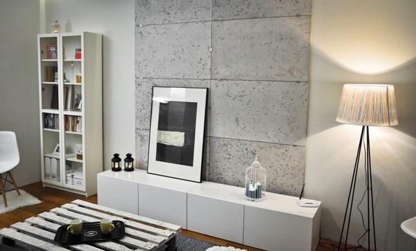 Wnętrze wykończone gipsową imitacją paneli betonowych Concrete marki Loft Design System.