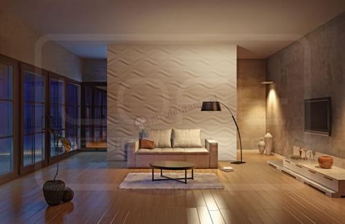 Wnętrze wykończone panelem Hourglass Loft Design wykończonym w technologii soundwave