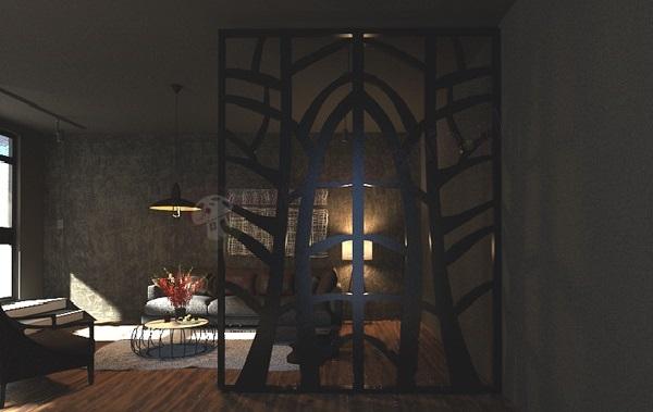 Panele ażurowe mdf marki mouk ciekawie się prezentują w ciemnym wnętrzu w klasycznym stylu.