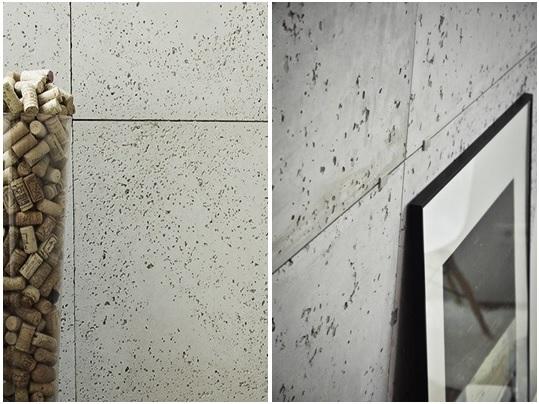 Płyty betonowe zestawione z gipsową imitacją.