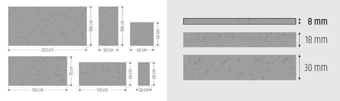 Formaty i grubości płyt betonowych na ścianę marki Slabb.