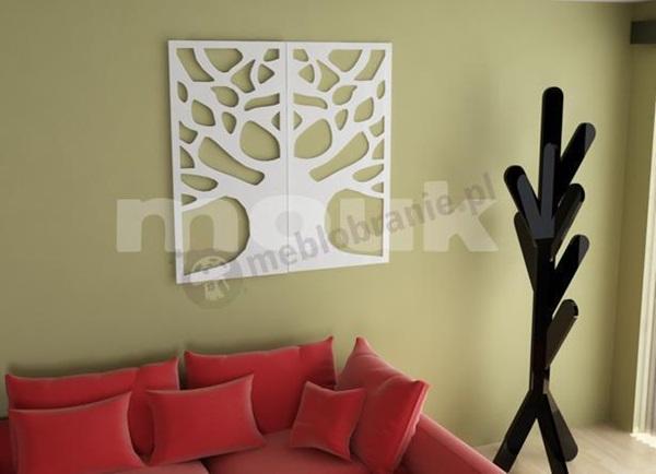 Dekoracja ścienna z paneli ażurowych mdf mouk na kontrastującym tle.