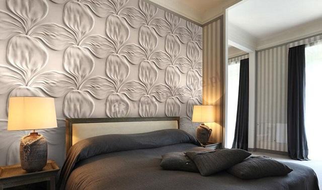 Sypialnia wykończona panelami gipsowymi 3D Model Kwiat ArtPanel