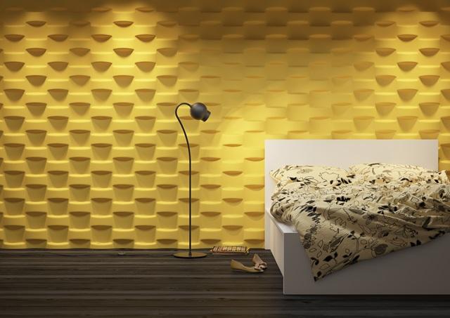 Sypialnia wykończona panelem ściennym Dunes Wicker