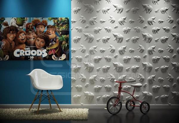 Aranżacja pokoju dziecięcego z panelami gipsowymi 3D ze wzorem słoni.
