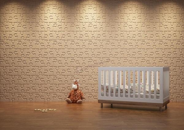 Subtelne panele ścienne puzzle w pokoju dla niemowlaka.