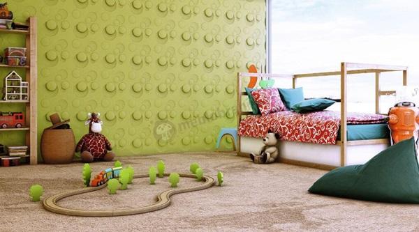 Panele gipsowe koła w pokoju dla dziecka.