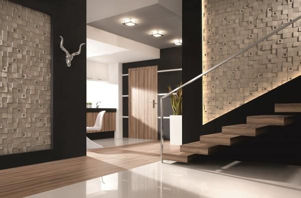 Kamień dekoracyjny Quadro Frost Incana Decor tworzy efektowny przedpokój z klatką schodową.