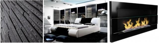 Nowoczesna biało-czarna sypialnia z kamieniem, łóżkiem z chromowanymi ozdobami i czarnym biokominkiem.