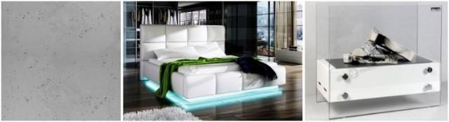 Nowoczesna sypialnia - aranżacja z betonem architektonicznym, łóżkiem ze światłami LED oraz białym biokominkiem.