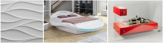 Nowoczesna sypialnia - aranżacja z panelami 3D, futurystycznym łóżkiem ze światłami LED oraz oryginalnym biokominkiem.