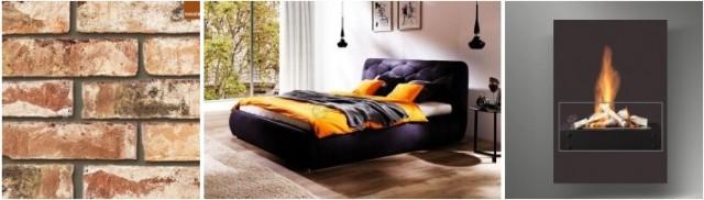 Nowoczesna sypialnia - aranżacje industrialne z cegłą, kolorowym łóżkiem i metalowym biokominkiem.