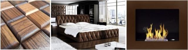 Nowoczesna sypialnia: drewniana dekoracja ściany, skórzane łóżko i brązowy biokominek.